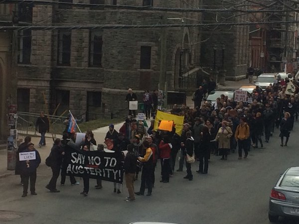 Demonstrators march in downtown St. John's, April 16th.